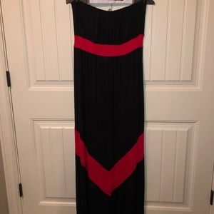 Black and red strapless maxi dress